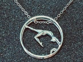 Wheel Gymnastics Pendant Pose 3 in Fine Detail Polished Silver