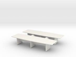 Modern Office Desk (x2) 1/87 in White Natural Versatile Plastic