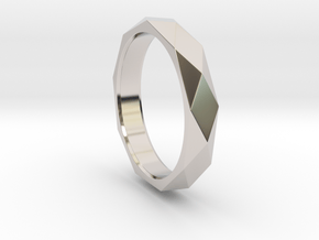 Nonagon Faceted Ring in Rhodium Plated Brass: 9 / 59