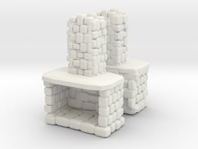 Stone Fireplace (x2) 1/87 in White Natural Versatile Plastic