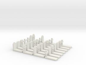 O Scale Cemetery Graves Graveyard (L) 1:43 in White Natural Versatile Plastic