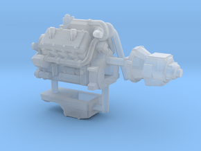 1/64th Diesel Truck Engine Similar to Cat 3408 in Smooth Fine Detail Plastic