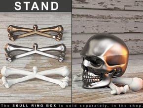 BONE X STAND for the Skull Ring Box in White Processed Versatile Plastic