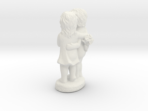 Boy And Girl Statue in White Natural Versatile Plastic