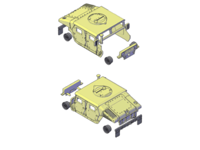 M1114 Humvee Armor in Smooth Fine Detail Plastic