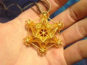 3 dimensional Metatron's cube in Polished Gold Steel