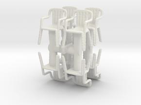 Plastic Chair (x8) 1/76 in White Natural Versatile Plastic