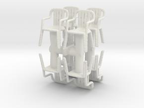 Plastic Chair (x8) 1/72 in White Natural Versatile Plastic