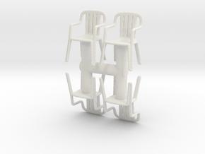 Plastic Chair (x4) 1/56 in White Natural Versatile Plastic