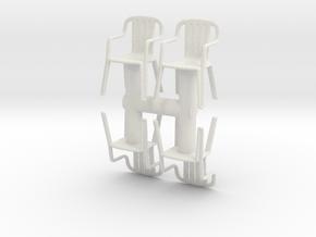 Plastic Chair (x4) 1/48 in White Natural Versatile Plastic