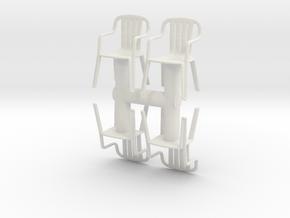 Plastic Chair (x4) 1/43 in White Natural Versatile Plastic