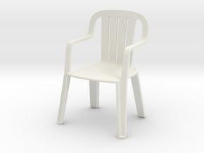 Plastic Chair 1/12 in White Natural Versatile Plastic
