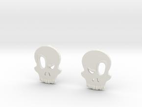 Eyebrow Skull Earrings in White Natural Versatile Plastic