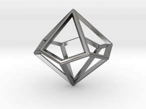 Wireframe Polyhedral Charm D10/Decahedron in Polished Silver