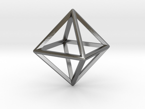 Wireframe Polyhedral Charm D8/Octahedron in Polished Silver
