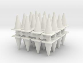 Traffic Cones (x32) 1/87 in White Natural Versatile Plastic