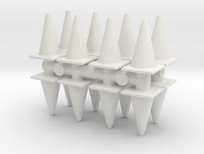 Traffic Cones (x16) 1/72 in White Natural Versatile Plastic