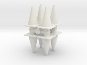 Traffic Cones (x8) 1/48 in White Natural Versatile Plastic