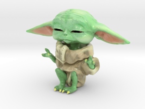 The Child using the Force in Glossy Full Color Sandstone