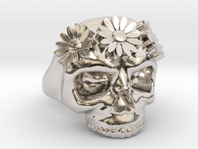 A Flower Crowned Skull in Rhodium Plated Brass: 6 / 51.5
