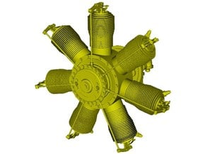 1/32 scale Gnome 7 Omega rotary engine x 1 in Smoothest Fine Detail Plastic