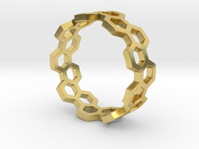 Honeycomb Ring_A in Polished Brass: 8 / 56.75