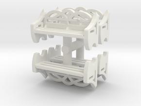 Park Bench (x4) 1/87 in White Natural Versatile Plastic