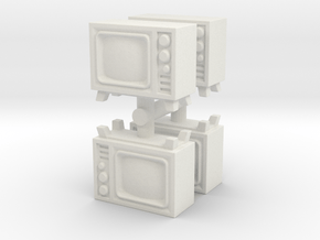 Old Television (x4) 1/87 in White Natural Versatile Plastic