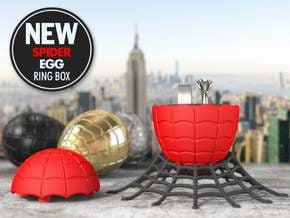 Spider (EGG) Ring Box - For Engagement or Proposal in Red Processed Versatile Plastic