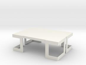 Modern Miniature 1:12 Table in White Natural Versatile Plastic: 1:12