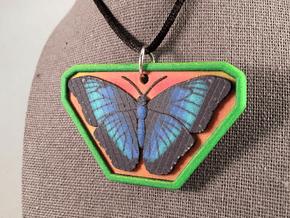 Blue Morpho Pendant in Natural Full Color Sandstone