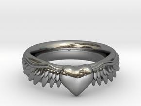 Heart Has Wings in Fine Detail Polished Silver: 6 / 51.5