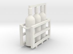 Acetylene Tanks In Rack 1-72 Scale in White Natural Versatile Plastic