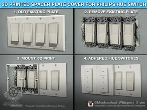 Philips Hue Dimmer 4-Gang Plate (US Decora) in White Natural Versatile Plastic
