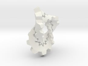 Knotted Cog (large) in White Natural Versatile Plastic