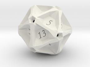 Geometric d20 [Plastics] (engraved) in White Natural Versatile Plastic