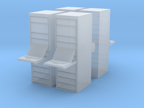 Computer Server (x4) 1/100 in Smooth Fine Detail Plastic