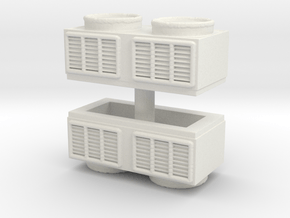 Rooftop Air Conditioning Unit (x2) 1/87 in White Natural Versatile Plastic