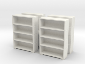 Bookshelf (x4) 1/87 in White Natural Versatile Plastic