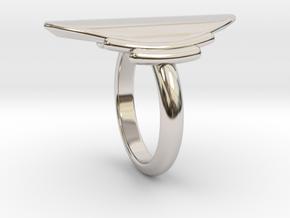 Mandorla Cocktail Ring - Size 6.5 in Rhodium Plated Brass
