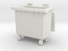 Trash bin with wheels 01.O Scale (1:48) in White Natural Versatile Plastic