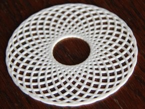 Spirograph Coaster 3 in White Processed Versatile Plastic