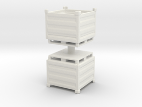 Palletbox Container (x2) 1/76 in White Natural Versatile Plastic