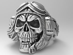 """""""Crazy Pilot"""" bikers  skull ring  size 12 in Natural Silver"""