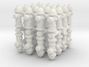 Fire Hydrant (x32) 1/87 in White Natural Versatile Plastic