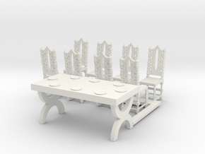 S Scale Table with Place Settings in White Natural Versatile Plastic