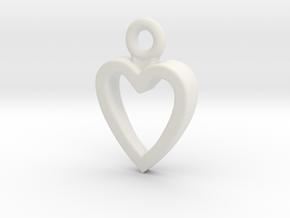 Heart Charm / Pendant / Trinket in White Natural Versatile Plastic