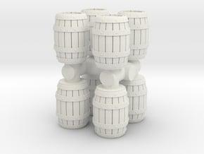 Wooden Barrel (x8) 1/87 in White Natural Versatile Plastic