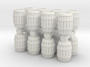 Wooden Barrel (x16) 1/144 in White Natural Versatile Plastic