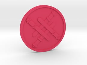 Four of Wands Coin in Pink Processed Versatile Plastic